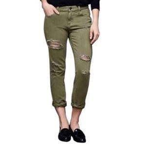 Gap distressed green jeans